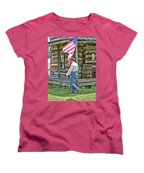 Women's T-Shirt (Standard Cut) featuring the photograph Soldier At Bedford Village Pa by Kathy Churchman