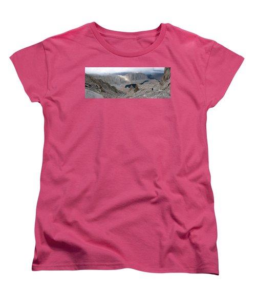 Women's T-Shirt (Standard Cut) featuring the photograph Solitary Hiker Panorama by Alan Socolik