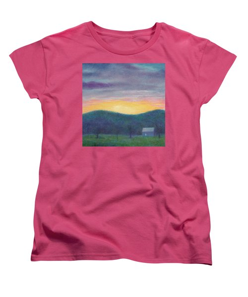 Blue Yellow Nocturne Solitary Landscape Women's T-Shirt (Standard Cut) by Judith Cheng