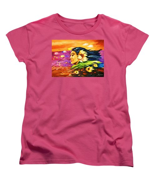 Women's T-Shirt (Standard Cut) featuring the painting South Sea Breeze  Fleeting Blossoms by Al Brown