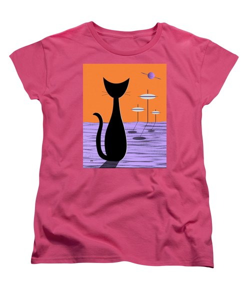 Space Cat Orange Sky Women's T-Shirt (Standard Cut)