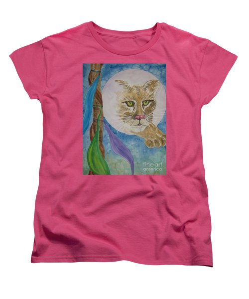 Women's T-Shirt (Standard Cut) featuring the painting Spirit Of The Mountain Lion by Ellen Levinson