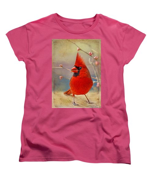Spring Male Norther Cardinal Women's T-Shirt (Standard Cut) by Debbie Portwood