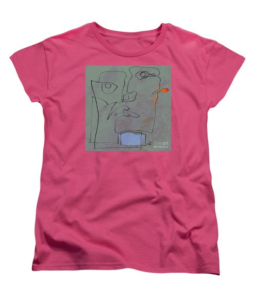 Women's T-Shirt (Standard Cut) featuring the painting Squigglehead With Blue Scarf And Red Ear  by Paul Davenport