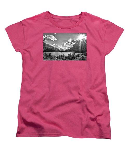 St. Mary Lake Bw Women's T-Shirt (Standard Cut) by Aaron Aldrich