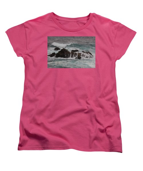 Women's T-Shirt (Standard Cut) featuring the photograph Standing Up To The Waves by Suzanne Luft