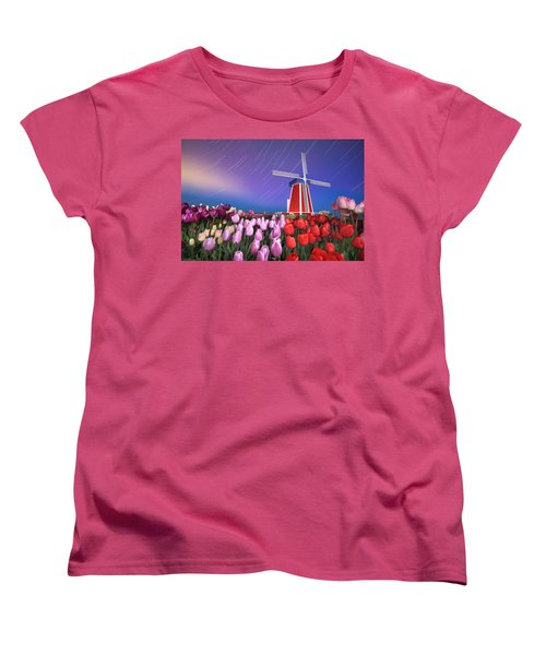 Women's T-Shirt (Standard Cut) featuring the photograph Star Trails Windmill And Tulips by William Lee