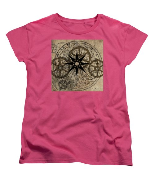 Women's T-Shirt (Standard Cut) featuring the painting Steampunk Gold Gears II  by James Christopher Hill
