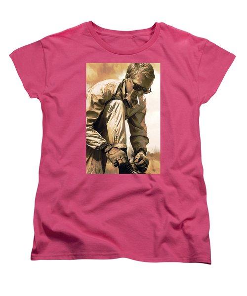 Steve Mcqueen Artwork Women's T-Shirt (Standard Cut) by Sheraz A