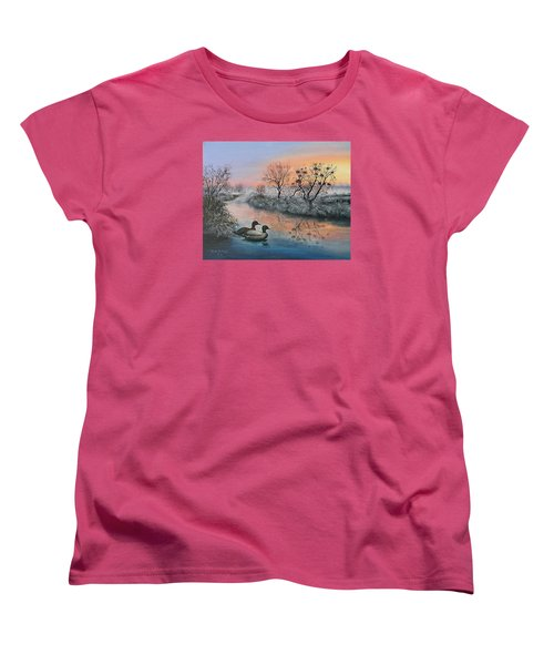 Women's T-Shirt (Standard Cut) featuring the painting Still Beauty by Vesna Martinjak