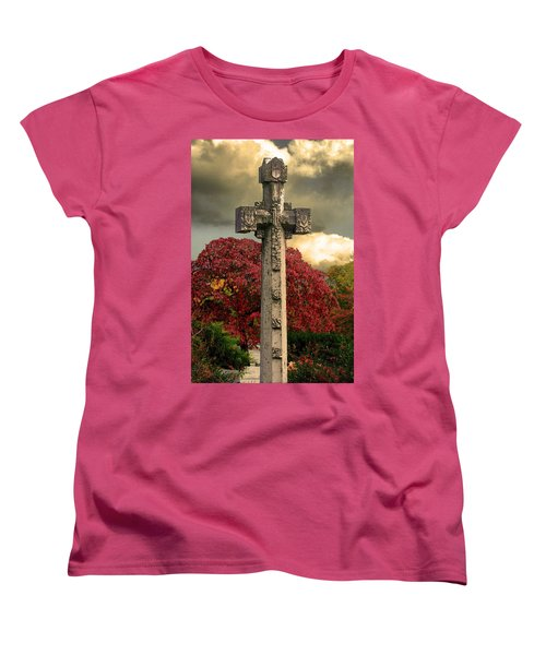 Women's T-Shirt (Standard Cut) featuring the photograph Stone Cross In Fall Garden by Lesa Fine