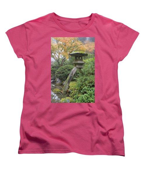 Women's T-Shirt (Standard Cut) featuring the photograph Stone Lantern In Japanese Garden by JPLDesigns