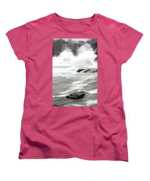 Women's T-Shirt (Standard Cut) featuring the photograph Stormy Waves Pound The Shoreline by Jeff Folger