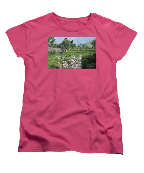 Women's T-Shirt (Standard Cut) featuring the photograph Stream Trees House And Mountains Swat Valley Pakistan by Imran Ahmed