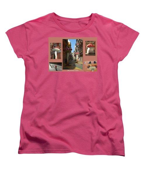 Street Of Giant Mushrooms Women's T-Shirt (Standard Cut) by Linda Prewer