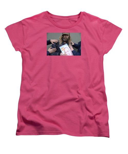 Women's T-Shirt (Standard Cut) featuring the photograph Street People - A Touch Of Humanity 12 by Teo SITCHET-KANDA