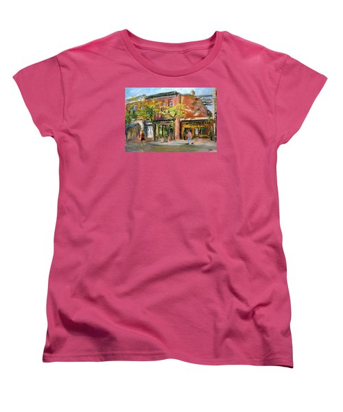 Women's T-Shirt (Standard Cut) featuring the painting Street View by Jieming Wang