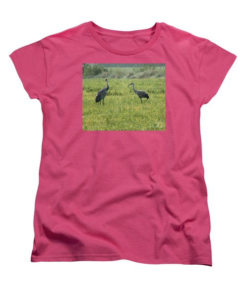 Women's T-Shirt (Standard Cut) featuring the photograph Strolling Cranes by Debbie Hart