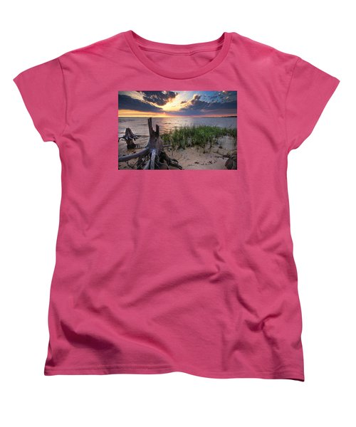 Stumps And Sunset On Oyster Bay Women's T-Shirt (Standard Cut) by Michael Thomas