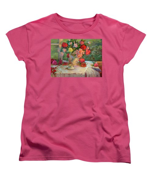 Summer Roses Women's T-Shirt (Standard Cut) by Diane McClary