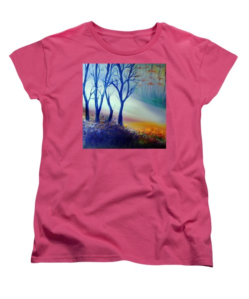Women's T-Shirt (Standard Cut) featuring the painting Sun Ray In Blue  by Lilia D