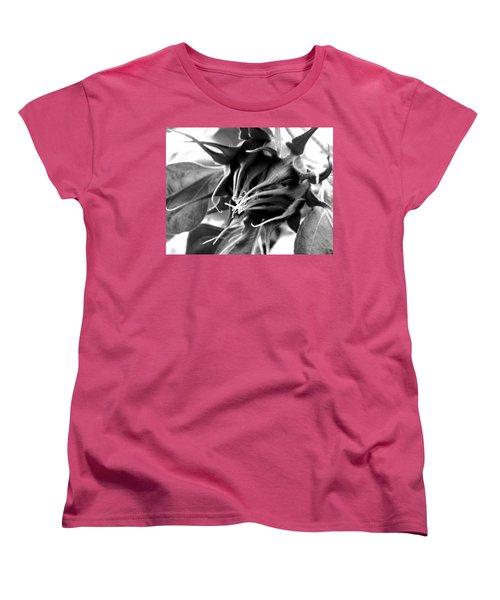 Women's T-Shirt (Standard Cut) featuring the photograph Sunflower Beginning by Sandi OReilly