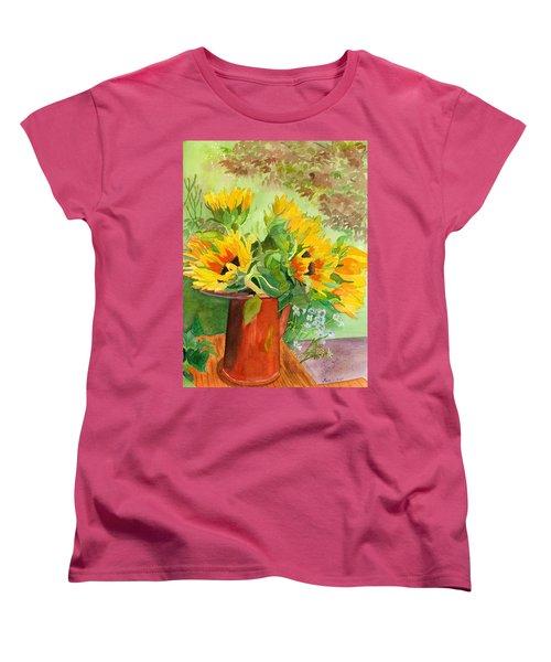 Sunflowers In Copper Women's T-Shirt (Standard Cut) by Lynne Reichhart