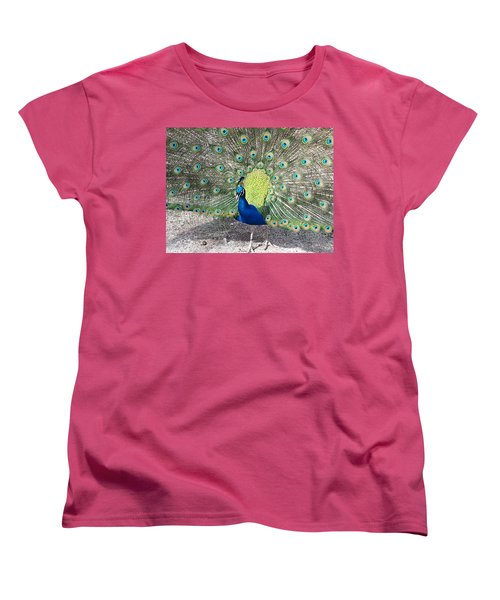 Women's T-Shirt (Standard Cut) featuring the photograph Sunny Peancock by Caryl J Bohn