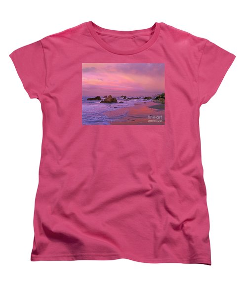 Women's T-Shirt (Standard Cut) featuring the photograph Sunrise On Sea Stacks Harris Sb Oregon by Dave Welling