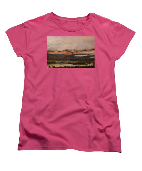 Women's T-Shirt (Standard Cut) featuring the painting Sunrise On The Ibex Valley by Brian Boyle