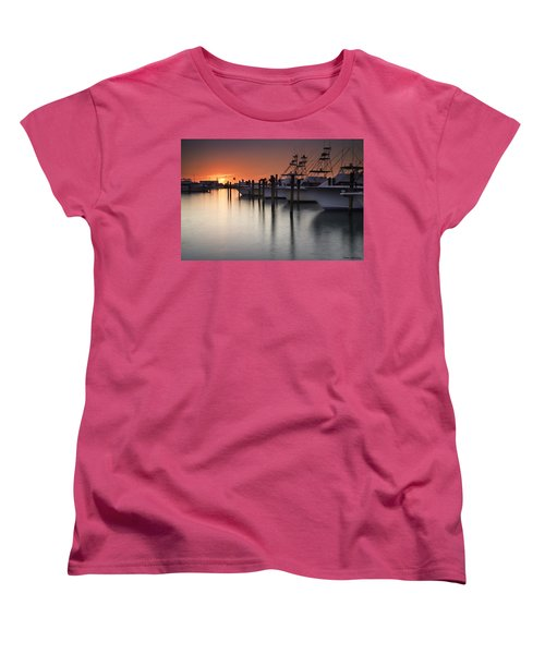 Sunset At The Pelican Yacht Club Women's T-Shirt (Standard Cut) by Fran Gallogly