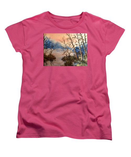 Women's T-Shirt (Standard Cut) featuring the painting Sunset Calm by Megan Walsh