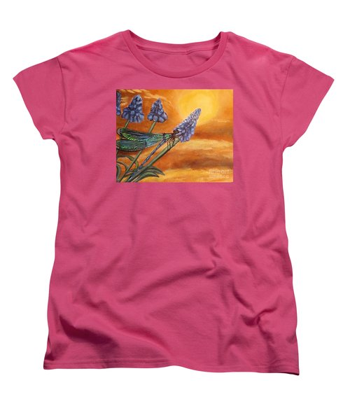 Women's T-Shirt (Standard Cut) featuring the painting Summer Sunset Over A Dragonfly by Kimberlee Baxter