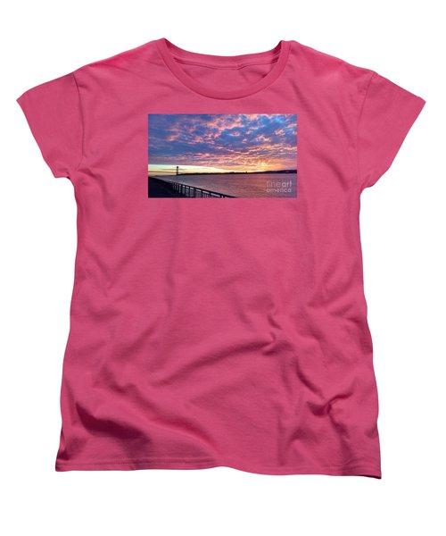Sunset Over Verrazano Bridge And Narrows Waterway Women's T-Shirt (Standard Cut) by John Telfer