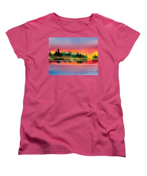 Women's T-Shirt (Standard Cut) featuring the painting Sunset by Teresa Ascone