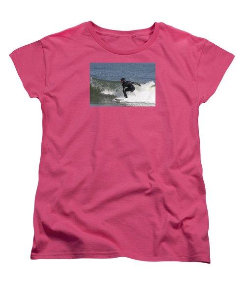 Women's T-Shirt (Standard Cut) featuring the photograph Surfer Hitting The Curl by John Telfer