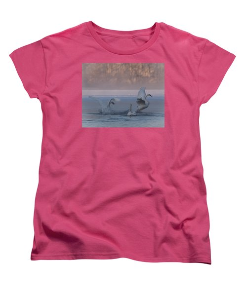 Women's T-Shirt (Standard Cut) featuring the photograph Swans Chasing by Patti Deters