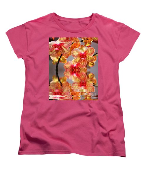 Women's T-Shirt (Standard Cut) featuring the photograph Sweet Orchid Reflection by Judy Palkimas