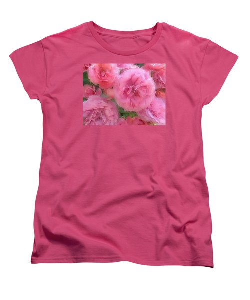 Women's T-Shirt (Standard Cut) featuring the mixed media Sweet Pink Roses  by Gabriella Weninger - David