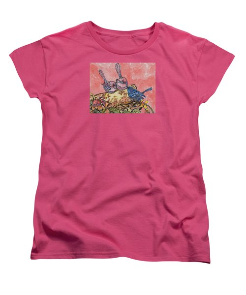 Women's T-Shirt (Standard Cut) featuring the painting Talk It Over by Connie Valasco