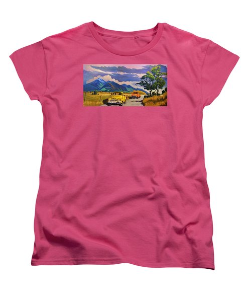 Women's T-Shirt (Standard Cut) featuring the painting Taos Joy Ride With Yellow And Orange Trucks by Art West