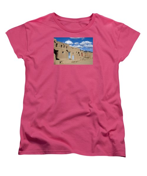Taos Pueblo Women's T-Shirt (Standard Cut) by Elvira Butler
