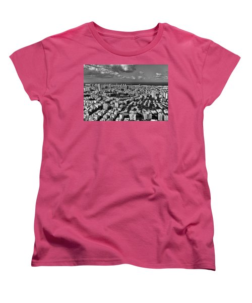 Women's T-Shirt (Standard Cut) featuring the photograph Tel Aviv Center Black And White by Ron Shoshani
