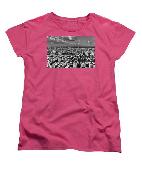 Tel Aviv Center Black And White Women's T-Shirt (Standard Cut) by Ron Shoshani