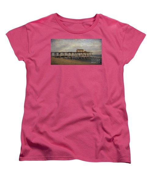 Women's T-Shirt (Standard Cut) featuring the photograph The Belmar Fishing Club Pier by Debra Fedchin