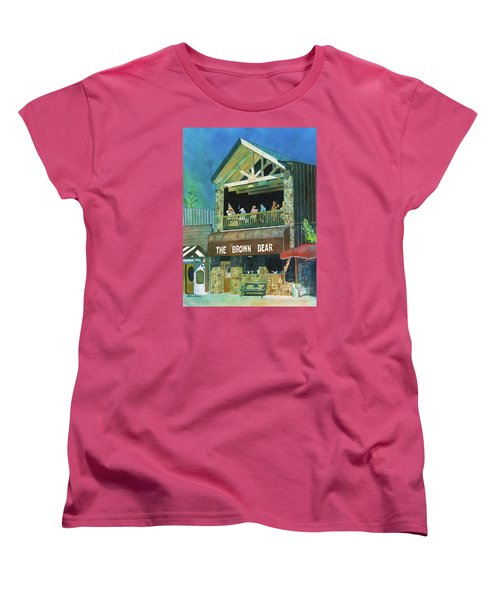 Women's T-Shirt (Standard Cut) featuring the painting The Brown Bear by LeAnne Sowa