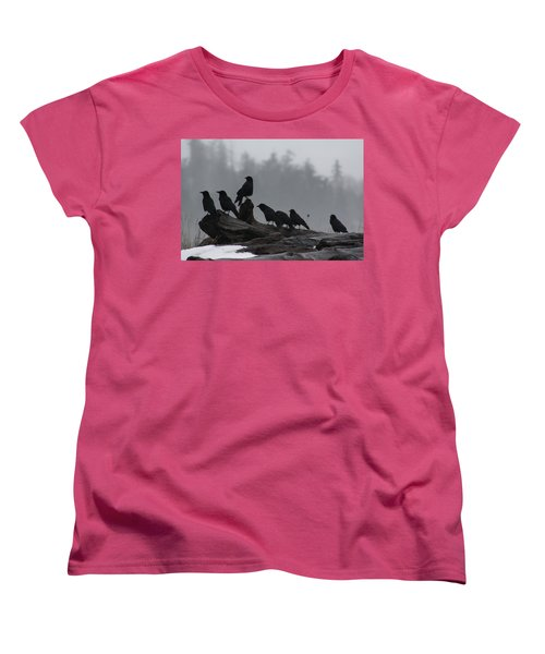 The Corvidae Family  Women's T-Shirt (Standard Cut) by Cathie Douglas