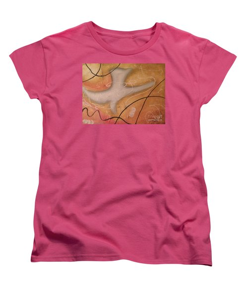 Women's T-Shirt (Standard Cut) featuring the painting The Dove Religious Abstract Art By Saribelle  by Saribelle Rodriguez