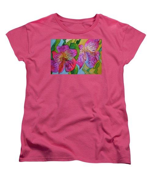 The Electric Kool-aid Alstroemeria Test Women's T-Shirt (Standard Cut) by Beverley Harper Tinsley