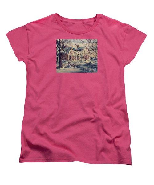 Women's T-Shirt (Standard Cut) featuring the painting The Farm by Joy Nichols